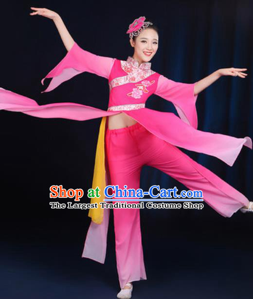 Chinese Traditional Umbrella Dance Group Dance Rosy Dress Classical Dance Stage Performance Costume for Women