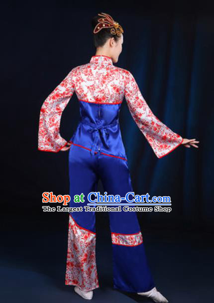 Traditional Chinese Yangko Fan Dance Group Dance Royalblue Clothing Folk Dance Stage Performance Costume for Women