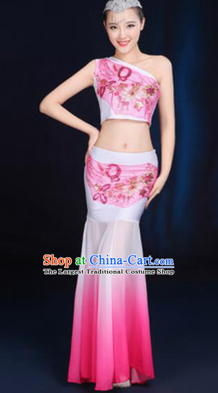 Traditional Chinese Minority Ethnic Pink Dress Dai Nationality Peacock Dance Stage Performance Costume for Women