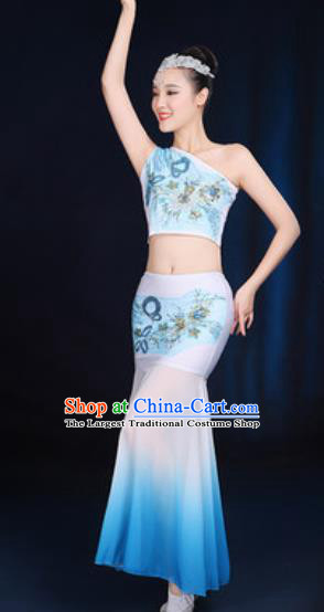 Traditional Chinese Minority Ethnic Blue Dress Dai Nationality Peacock Dance Stage Performance Costume for Women