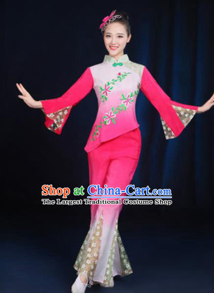 Traditional Chinese Yangko Fan Dance Rosy Clothing Folk Dance Stage Performance Costume for Women