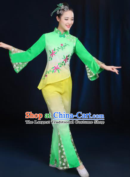 Traditional Chinese Yangko Fan Dance Green Clothing Folk Dance Stage Performance Costume for Women