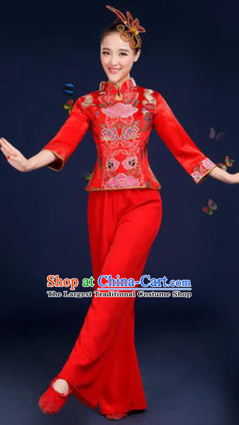 Traditional Chinese Fan Dance Red Satin Clothing Folk Dance Yangko Stage Performance Costume for Women
