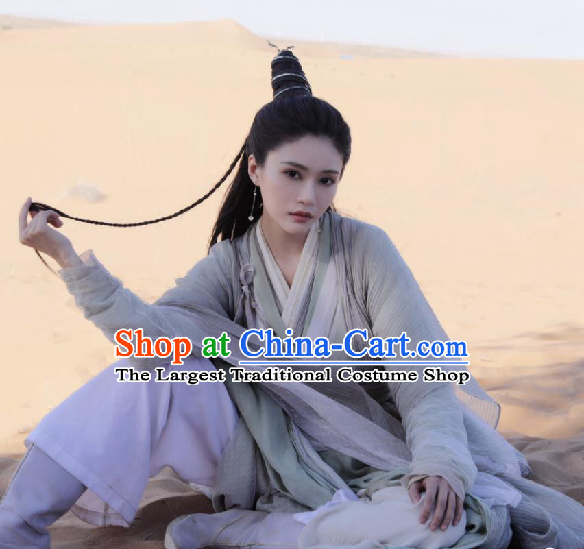 Chinese Drama Heavenly Sword Dragon Slaying Saber Ancient Swordswoman Taoist Nun Historical Costume for Women