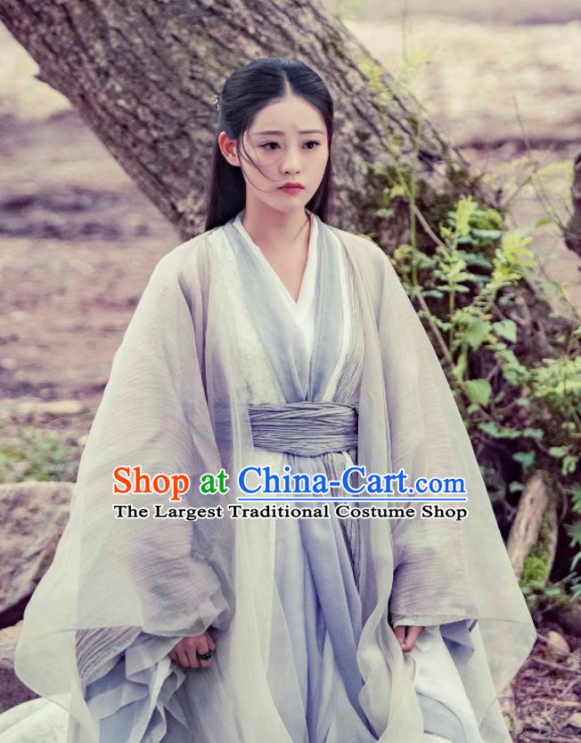 Drama Heavenly Sword Dragon Slaying Saber Chinese Ancient Swordswoman Taoist Nun Zhou Zhiruo Historical Costume for Women