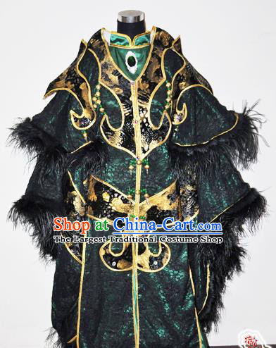 Traditional Chinese Cosplay Taoist Priest Green Hanfu Clothing Ancient Swordsman Royal Highness Embroidered Costume for Men