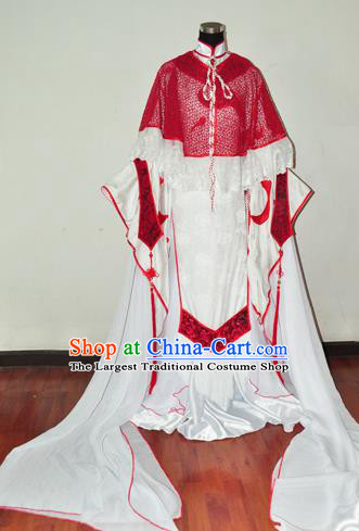 Traditional Chinese Cosplay Peri Princess Red Hanfu Dress Ancient Swordswoman Embroidered Costume for Women