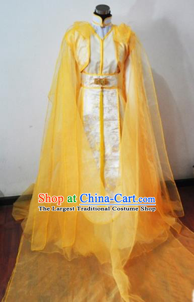 Traditional Chinese Cosplay Peri Princess Yellow Hanfu Dress Ancient Swordswoman Embroidered Costume for Women