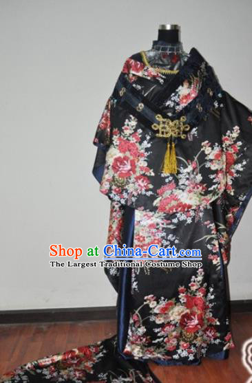 Traditional Chinese Cosplay Peri Princess Black Hanfu Dress Ancient Swordswoman Embroidered Costume for Women