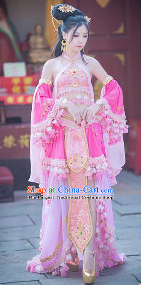 Traditional Chinese Tang Dynasty Princess Pink Hanfu Dress Ancient Peri Embroidered Costume for Women