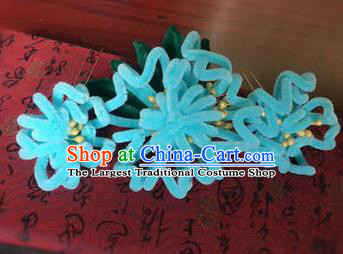 Traditional Chinese Qing Dynasty Blue Velvet Chrysanthemum Hair Comb Hairpins Handmade Ancient Palace Hair Accessories for Women
