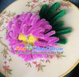 Traditional Chinese Qing Dynasty Rosy Velvet Chrysanthemum Hairpins Handmade Ancient Palace Hair Accessories for Women