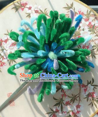 Traditional Chinese Qing Dynasty Green Velvet Chrysanthemum Hairpins Handmade Ancient Palace Hair Accessories for Women