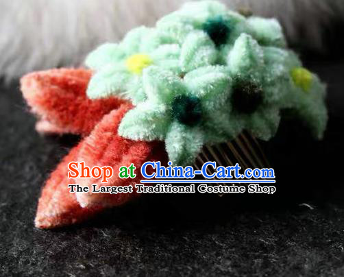 Traditional Chinese Qing Dynasty Green Velvet Flowers Hair Comb Hairpins Handmade Ancient Palace Hair Accessories for Women