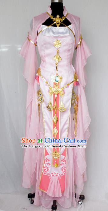 Traditional Chinese Cosplay Swordswoman Pink Hanfu Dress Ancient Heroine Embroidered Costume for Women