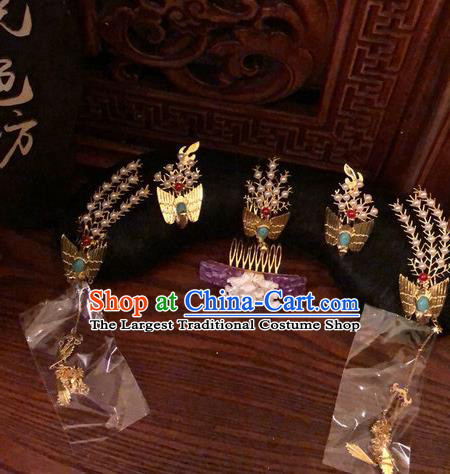 Traditional Chinese Qing Dynasty Palace Lady Phoenix Coronet Headwear Ancient Manchu Hair Accessories for Women