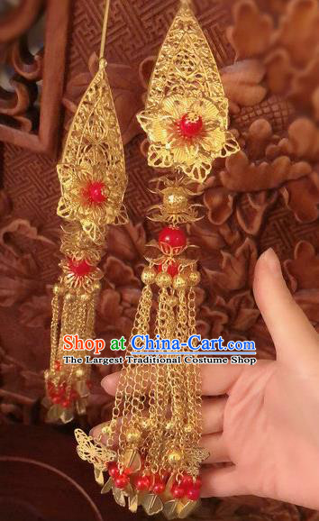 Traditional Chinese Ming Dynasty Queen Golden Tassel Hairpins Handmade Ancient Palace Hair Accessories for Women