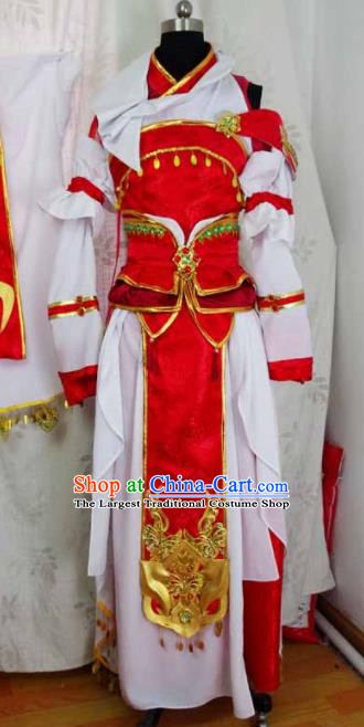 Traditional Chinese Cosplay Swordswoman Red Hanfu Dress Ancient Taoist Nun Embroidered Costume for Women