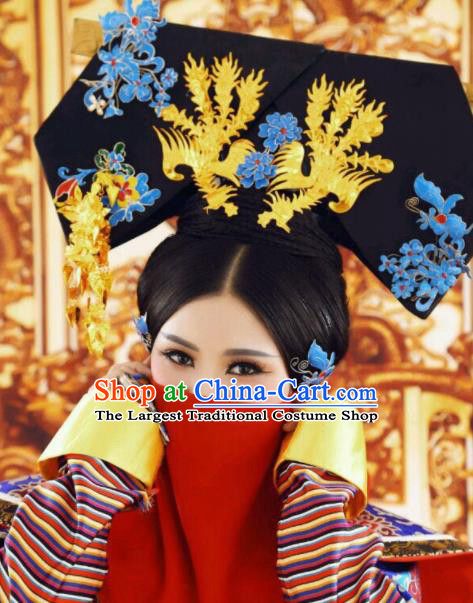Traditional Chinese Qing Dynasty Palace Queen Hat Headwear Ancient Manchu Lady Hair Accessories for Women