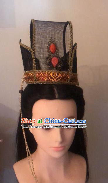 Traditional Chinese Han Dynasty Prince Hairdo Crown Hair Accessories Ancient Nobility Childe Hat for Men