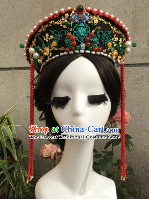 Traditional Chinese Qing Dynasty Palace Queen Blueing Hat Headwear Ancient Manchu Lady Hair Accessories for Women