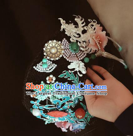 Traditional Chinese Qing Dynasty Palace Cloisonne Hat Headwear Ancient Manchu Lady Hair Accessories for Women