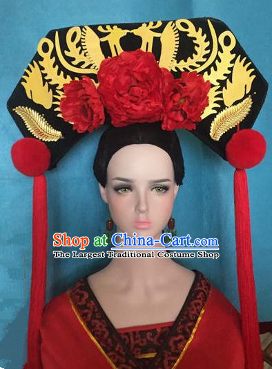 Traditional Chinese Qing Dynasty Palace Red Peony Headwear Ancient Manchu Lady Hair Accessories for Women