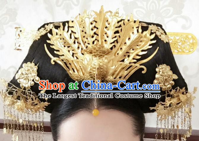 Traditional Chinese Qing Dynasty Palace Golden Phoenix Headwear Ancient Manchu Lady Hair Accessories for Women