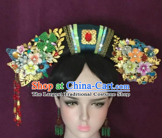 Traditional Chinese Qing Dynasty Imperial Consort Flowers Tassel Headwear Ancient Manchu Lady Hair Accessories for Women