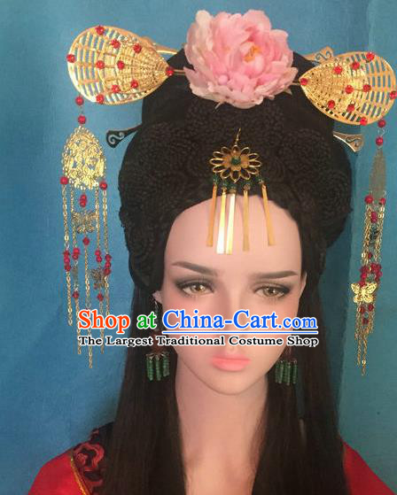 Traditional Chinese Tang Dynasty Imperial Concubine Phoenix Coronet Hairpins Handmade Ancient Palace Hair Accessories for Women