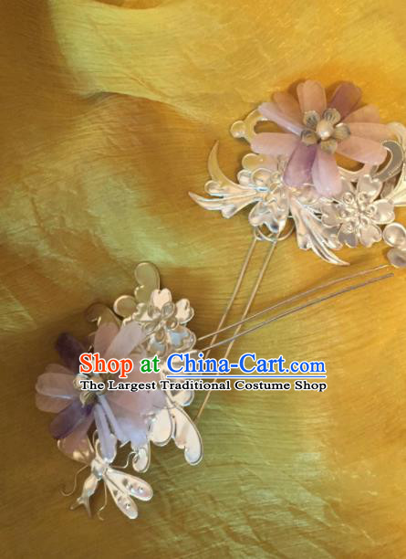 Traditional Chinese Qing Dynasty Pink Lotus Hairpins Handmade Ancient Manchu Lady Hair Accessories for Women