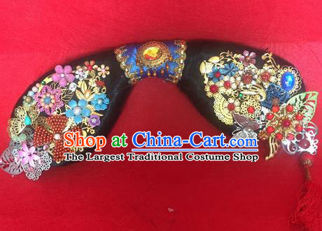 Traditional Chinese Qing Dynasty Princess Headwear Ancient Manchu Lady Hair Accessories for Women