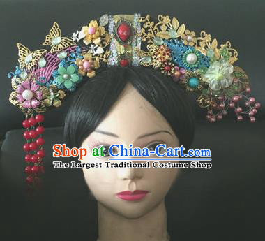 Traditional Chinese Qing Dynasty Princess Red Beads Tassel Headwear Ancient Manchu Lady Hair Accessories for Women