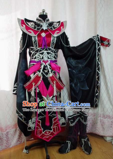 Traditional Chinese Cosplay Warrior Knight Clothing Ancient Swordsman Embroidered Costume for Men