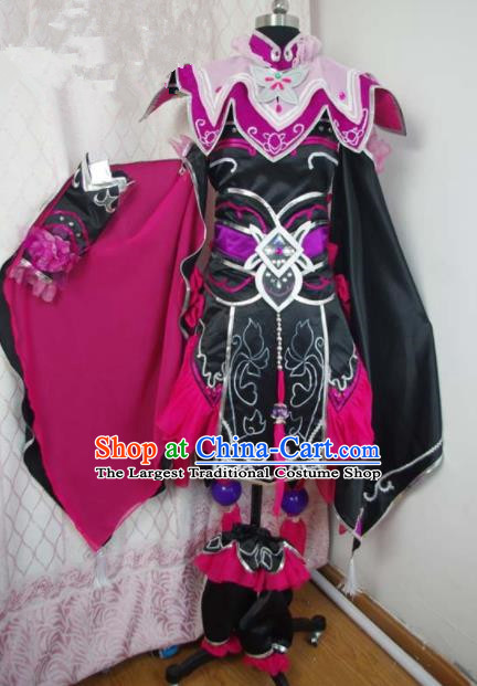 Traditional Chinese Cosplay Swordswoman Purple Hanfu Dress Ancient Female Knight Embroidered Costume for Women