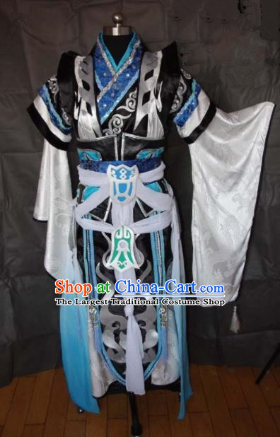 Traditional Chinese Cosplay Royal Highness Clothing Ancient Swordsman Embroidered Costume for Men