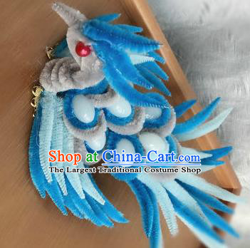 Traditional Chinese Handmade Palace Hair Accessories Ancient Qing Dynasty Velvet Bird Hairpins for Women