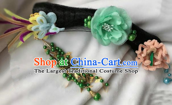 Traditional Chinese Qing Dynasty Imperial Consort Green Peony Tassel Headwear Ancient Palace Manchu Hair Accessories for Women