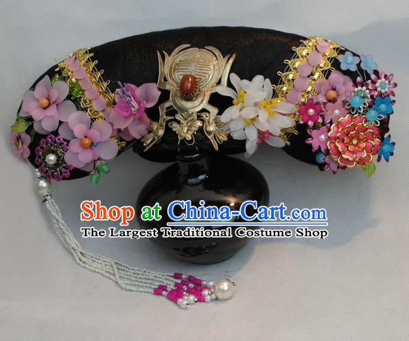 Traditional Chinese Qing Dynasty Imperial Consort Headwear Ancient Palace Manchu Hair Accessories for Women