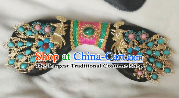 Traditional Chinese Qing Dynasty Imperial Consort Phoenix Headwear Ancient Palace Manchu Hair Accessories for Women