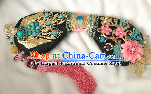 Traditional Chinese Qing Dynasty Imperial Consort Golden Phoenix Headwear Ancient Palace Manchu Hair Accessories for Women