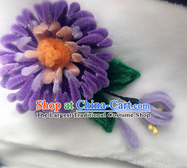 Traditional Chinese Ancient Qing Dynasty Purple Velvet Chrysanthemum Hairpins Handmade Palace Hair Accessories for Women
