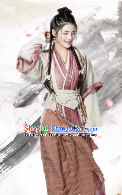 Chinese Ancient Yuan Dynasty Swordswoman Hanfu Dress Drama Heavenly Sword Dragon Slaying Saber Xiao Zhao Historical Costume for Women