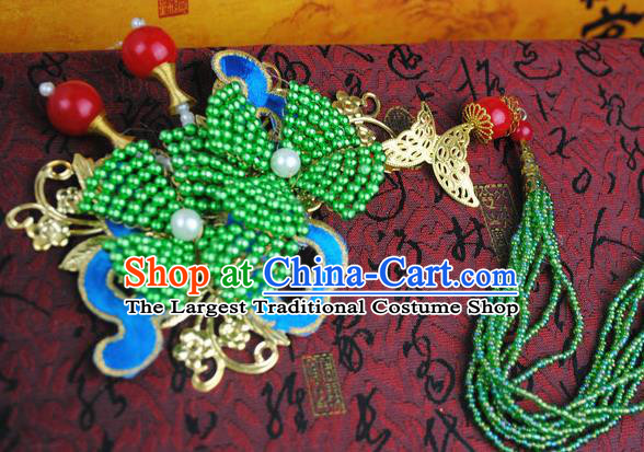 Traditional Chinese Qing Dynasty Green Beads Tassel Hairpins Handmade Ancient Manchu Lady Hair Accessories for Women