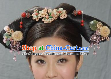 Traditional Chinese Qing Dynasty Princess Headwear Ancient Palace Lady Hair Accessories for Women
