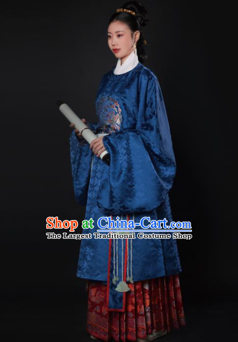 Chinese Ancient Ming Dynasty Court Dowager Navy Hanfu Dress Traditional Imperial Consort Embroidered Historical Costume for Women