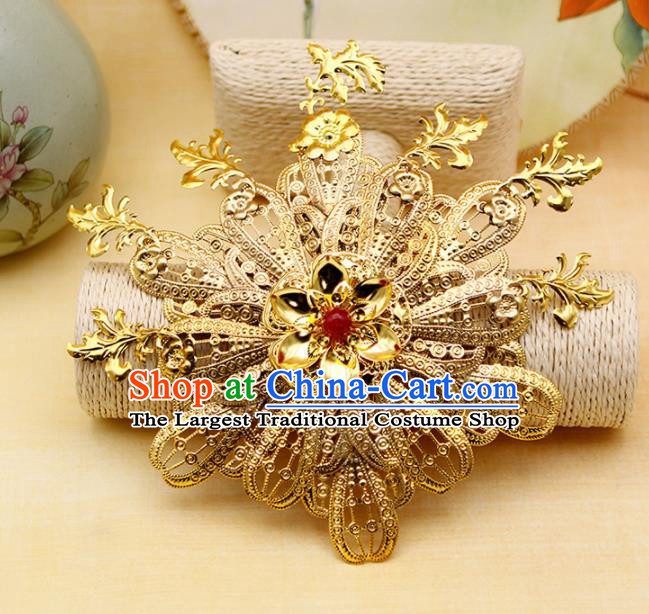 Traditional Chinese Handmade Hairpins Golden Hair Claw Ancient Qing Dynasty Princess Hair Accessories for Women