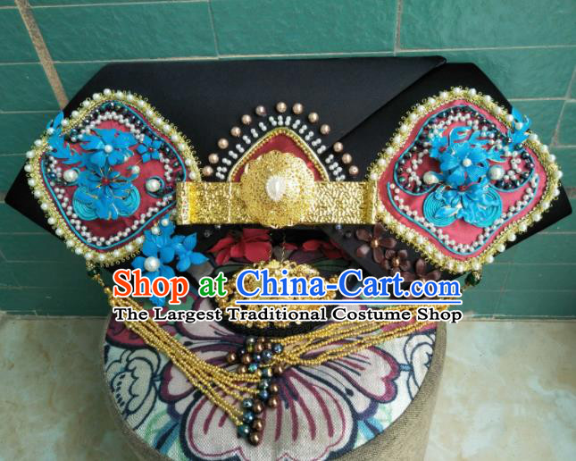 Traditional Chinese Handmade Qing Dynasty Manchu Empress Headwear Hairpins Ancient Queen Hair Accessories for Women