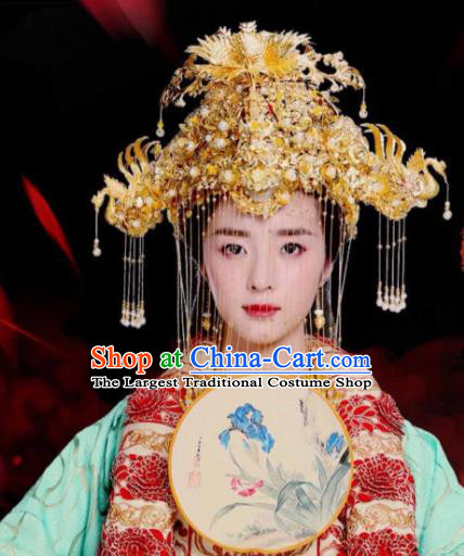 Traditional Chinese Handmade Queen Wedding Phoenix Coronet Hairpins Ancient Imperial Empress Hair Accessories for Women