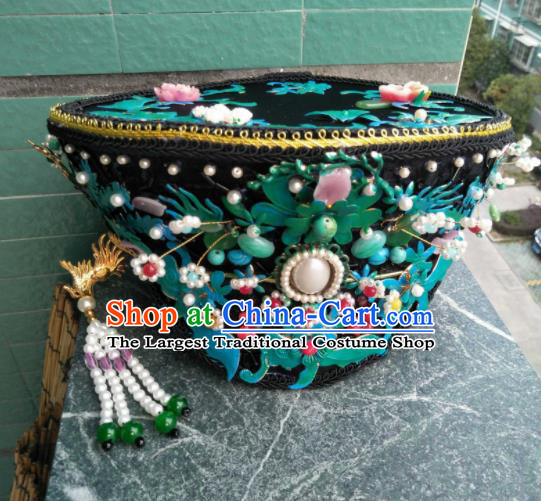 Traditional Chinese Handmade Qing Dynasty Queen Cloisonne Hat Hairpins Ancient Imperial Consort Hair Accessories for Women